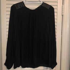 Zara blouse long sleeve leather patch nwt